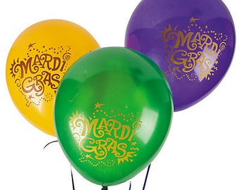12/ Mardi Gras Party Latex balloons