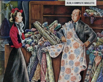 1948 Woman in Fabric Store - 1940s Saturday Evening Post Covers - Alajalov Art - Vintage Sewing Room Art Decor