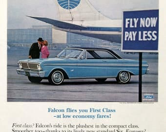 1965 Ford Falcon Futura Hardtop Ad - Retro Ford Advertising - 1960s PanAm Airplanelane