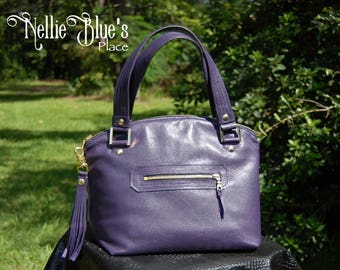 ON SALE: Purple Leather Domed Lola Handbag, Zippered Top  (Ready to Ship)