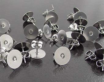 "10mm Stainless Steel Earring Posts, Surgical Steel Flat Pad and Back, 3/8"" Post Stud Findings, DIY Jewelry Making SF226"