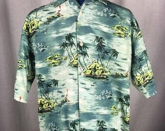 Ralph Lauren Hawaiian Shirt Island Fisherman Torch Button Front Vintage XL