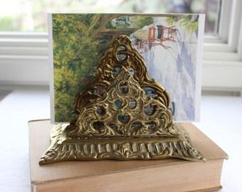 Vintage Brass Letter Holder, Victorian Style Letter Holder, Desk Organizer, Ornate Brass Letter Holder