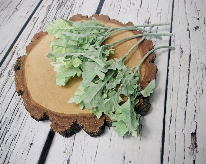 Artificial dusty miller leafs 5 pcs Wedding Flowers diy bouquet floral supply best quality realistic rustic stemmed cold greenery