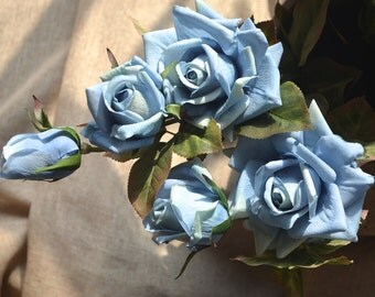Pale Blue Roses Spray Real Touch Flowers For Wedding Bouquets Centerpieces, 3 blooms/stem
