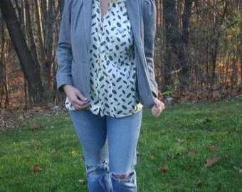 Wool Blazer Jack Set 70s Puffed-sleeve Size XS-S