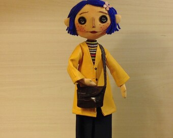 coraline movie doll button eyes doll textile yellow raincoat coraline art doll blue hair coraline toys  cloth doll cloth art doll