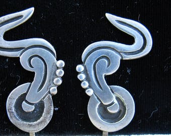 Vintage 1940's/1950's Sterling Mexico Abstract screw back Earrings