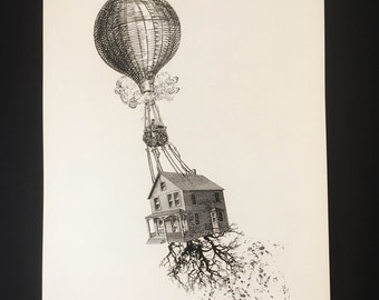 Home baloon, fine art printed on textured aged quality 300gr paper