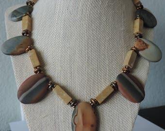 Honed Jasper Necklace,  Jasper Necklace,  Red Creek Jasper Necklace,