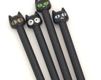 4 pcs Black Cat Gel Pen Set Korean Stationery Kawaii Black Ink Pens