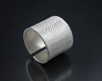 Maxi sterling silver ring, made with the melting with cuttlefish bone, Open and adjustable, modern ring - Handmade - NO NICKEL