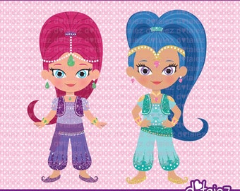 Shimmer & Shine Clipart, shimmer and shine, genie clipart, cute clipart, printable