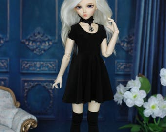 Black dress with necklace and stockings for MINIFEE, Narae, Unoa MSD, BJD 1/4 size