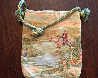 Vintage Italian Tapestry Purse Handbag by Mister Simon Ernest - Pouch - Rope handle