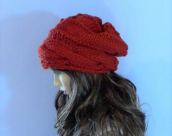 Knit Hat, Knit Hat Women, Cable Knit Beanie, Slouchy Knit Hat, Slouch Beanie, Slouchy Hat, Wool Hat,  Hand Knit Hat, Orange Hat
