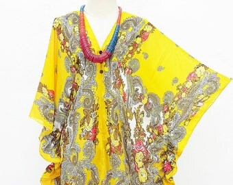 Kaftan Kimono Beach Cover up Bikini Yellow Butterfly sleeves Tunic Gift Top Maternity Swimwear Plus size see through colorful Summer Beach