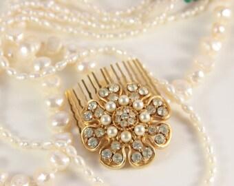 Pearl Bridal Comb Great Gatsby Pin Gold Pearl Brooch True Vintage Medium Rhinestone Hair Jewelry Heirloom For Bride Retro Rustic Wedding Pin