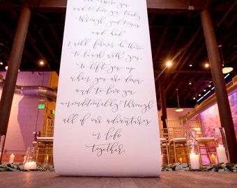 Calligraphy Scroll Ceremony Backdrop / Calligraphy Vows / Wedding Decor / Ceremony Decor