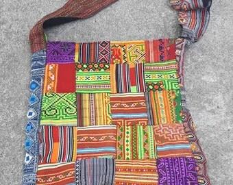 100 % Handmade Unique Hobo Bag/Tribal Textile Hobo Bag/Karen Hobo Bag/Hill Tribe Embroidery Bag/Shoulder Bag/Traditional Patchwork Bag