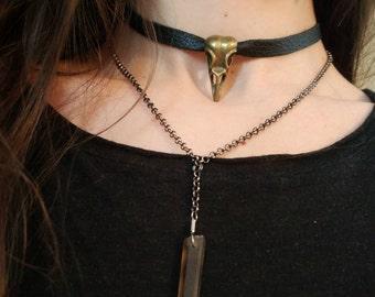 Raven Skull Choker Necklace // Raven Skull Pendant Leather Choker // Black Leather Choker // Gothic Raven Skull Leather Choker Necklace