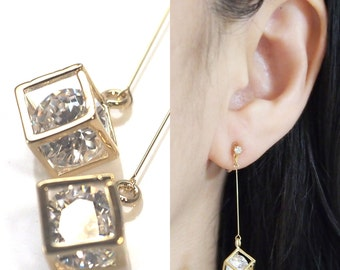 Crystal in Gold Cube Invisible Clip On Earrings, Non Pierced Earrings, CZ Crystal Clip Earrings Dangle Cubic Zirconia Clip on Earrings