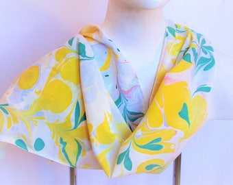 """Flowered scarf, bamboo rayon women's scarf. Hand marbled yellow, teal green, white and pink. 12.5""""x 61"""""""