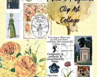 Pride & Prejudice  Clip Art  Jane Austen Quotes   Clipart  Scrapbooking  Digital Art  Regency era  Clipart  Victorian clipart