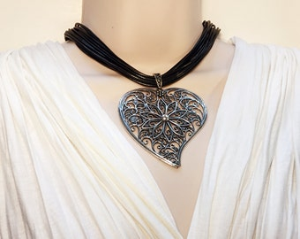 Big Heart Necklace. Big Antique Silver Heart Pendant and Black Faux Leather Necklace for Women.  #C23
