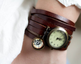 Woman Wrap Watch, bronze wrist watch roman numerals, wish watch, genuine leather, bead watch, bracelet watch, vintage antique bronze watch