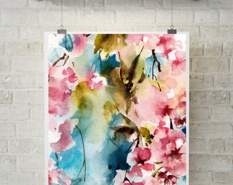 Bright colors art print, pink blooming branch, watercolor painting print, abstract modern wall art
