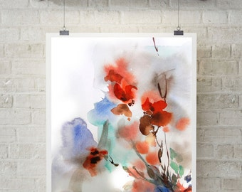 Abstract floral art print, watercolor painting, abstract painting, watercolor print, floral modern art