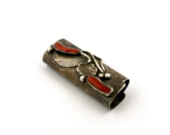 1960s Red Coral And Navajo Pearl Silver Lighter Case // Vintage Smoking Accessory // OPT1 (NE)