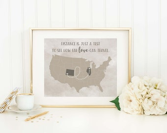 Personalized Distance Map - Long Distance Relationship - Custom Map Print - Distance Family Gift - Distance Love Gift - Long Distance Map