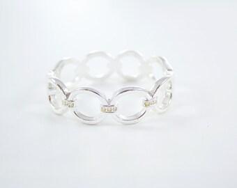 Vintage Silver Tone Clamper Bracelet Crystals Bangle Rhinestones