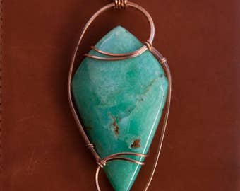 Colossal Chrysoprase Wire Wrapped Stone Pendant, Copper Wire Wrapped Pendant, Stone Wire Wrap, Australian Green Crysoprase Pendant