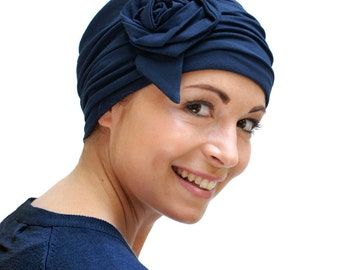 Stylish chemo headwear | hats for womens hair loss | navy blue handmade pretty chemo cap| hats for cancer patients - sizes available