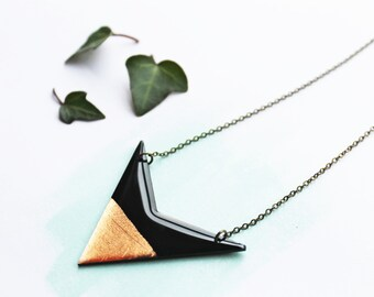 modern necklace long necklace black and copper pendant minimalist jewelry geometric pendant contemporary jewelry vinyl record jewelry