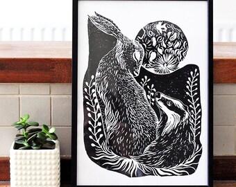 Badger & Hare - Block Print Linocut, Illustration, British Animals, Art Print 8x11 A4