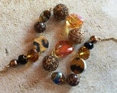 Brown and Gold Glass Statement Necklace, Beaded Necklace, Beadwork Necklace, Jewelry, Necklace, For Her