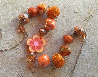 Orange Glass Statement Necklace, Orange Beadwork Necklace, Orange Beaded Necklace, Gift For Her, Trending Item