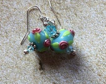 Beadwork Earrings, , Lampwork Flower Earrings, Lampwork Floral Earrings, Glass Earrings, Statement Earrings