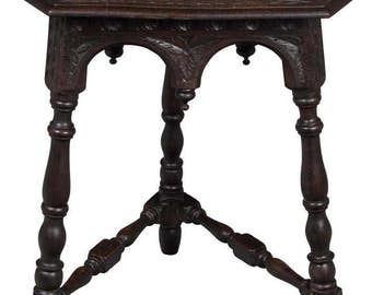 Victorian Period Antique Carved Corner Table