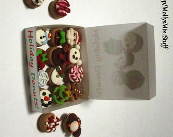 Handmade polymer clay assortment of Christmas and holiday donuts dollhouse miniature food