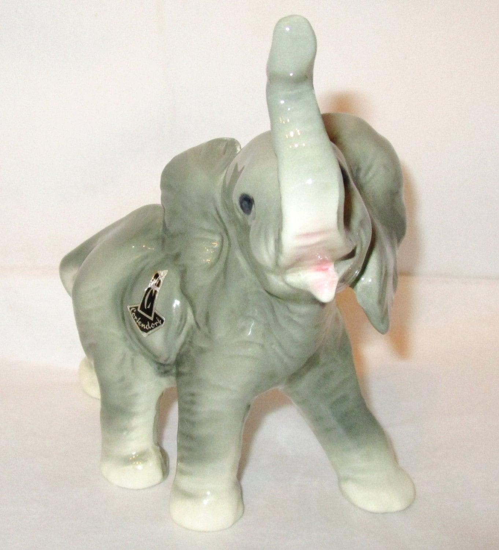 Vintage Cortendorf Ceramic Porcelain African Elephant Figurine