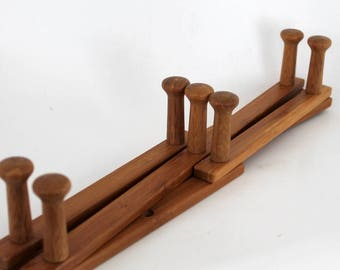 Folding Clothes Rack, Vintage Expandable  Wooden Wall Rack, Small Size Accordion 7 Peg Wall Hanging, Coat & Hat Holder, Herb Drying Rack