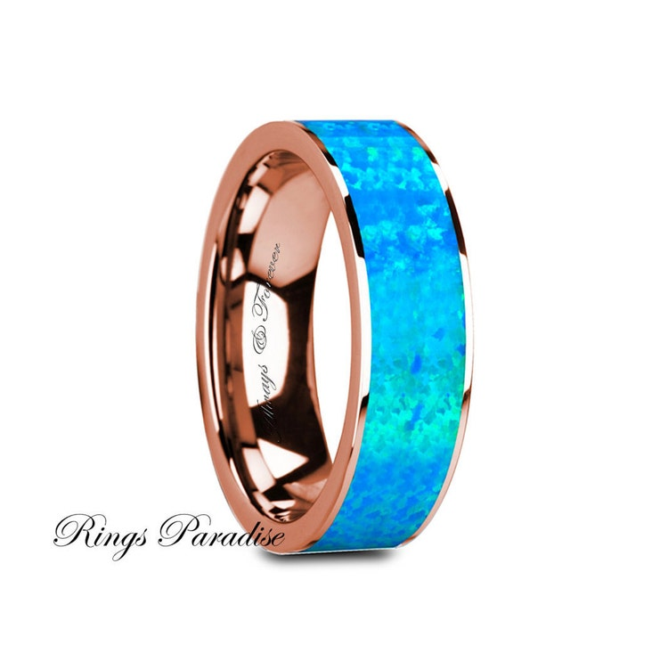 14k Gold Engagement Rings Wedding Bands Blue Opal by RingsParadise