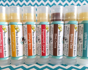 All Natural Lip Balm / Organic Handcrafted Lip Balm / All Natural / Choose from 7 assorted flavors / Customizable / Gifts for Her / Favors