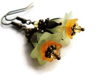 Green Earrings Floral Jewelry Vintage Style Flower Earrings Boho Jewelry Gypsy Earrings Orange Jewelry Long Earrings For Her Dangle Earrings
