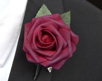 SANGRIA BOUTONNIERE Wedding Single Rose Ribbon Sangria Boutonniere With Foliage Includes Pearl Or